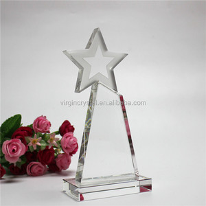 Wholesale New Design cheap crystal glass star trophy awards for club souvenir