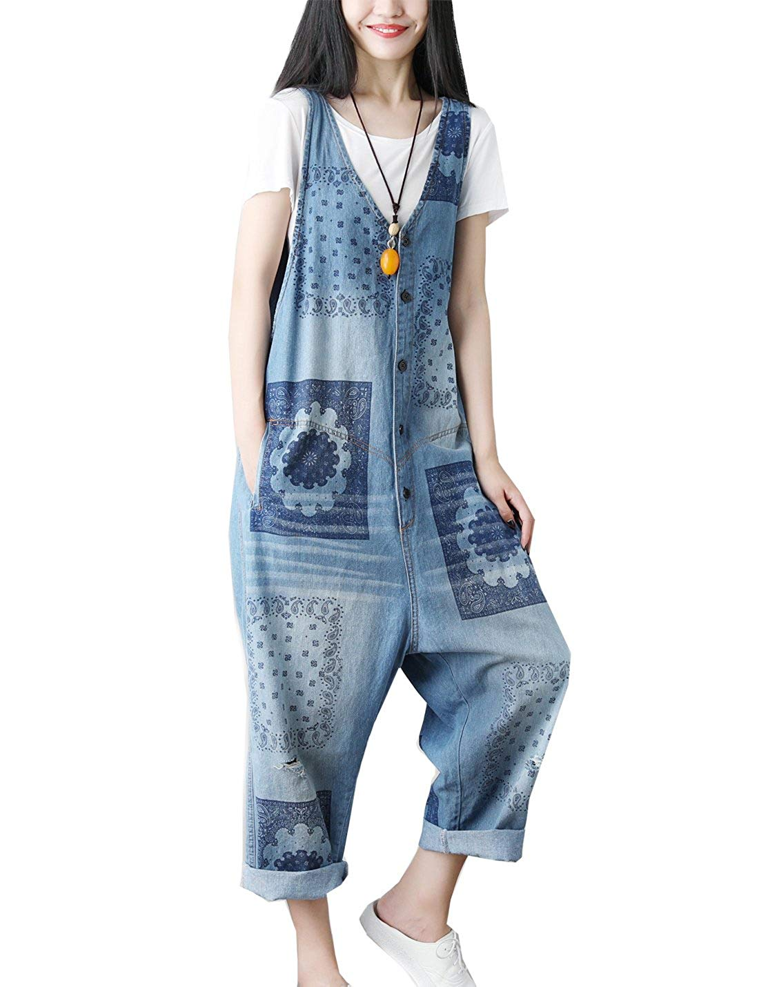 0334bd6075f7 Flygo Women's Loose Floral Printed Distressed Capri Denim Bib Overalls  Jumpsuit Rompers with Pockets