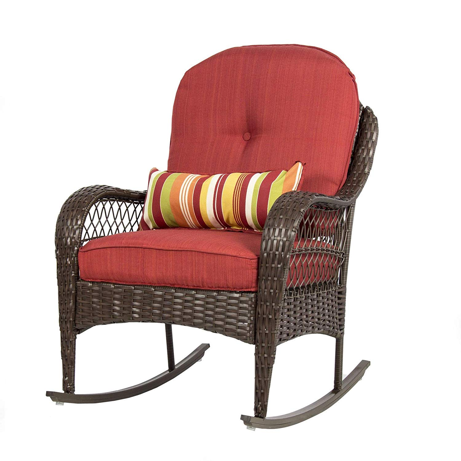 Picotech Rocking Wicker Chair Outdoor Red Lounge Thick Soft Cushion Steel Frame Rust-Resistant Elegant Durable Sturdy Contoured Seat Backrest Weather-Resistant Patio Backyard Porch Deck Terrace Pool