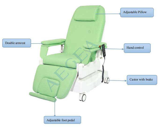 AG-XD206 electric hospital blood donor collection reclining phlebotomy chairs china