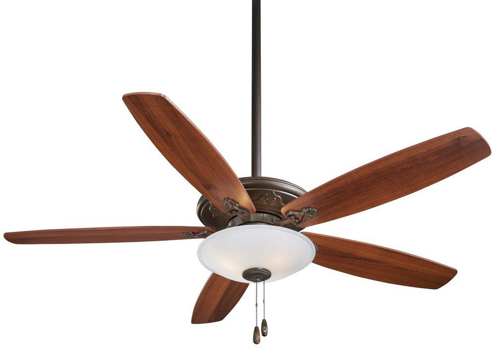 "Minka Aire F622-ORB Mojo - 52"" Ceiling Fan with Light Kit, Oil Rubbed Bronze Finish with Reversible Medium Maple/Dark Walnut Blade Finish with Frosted White Glass"