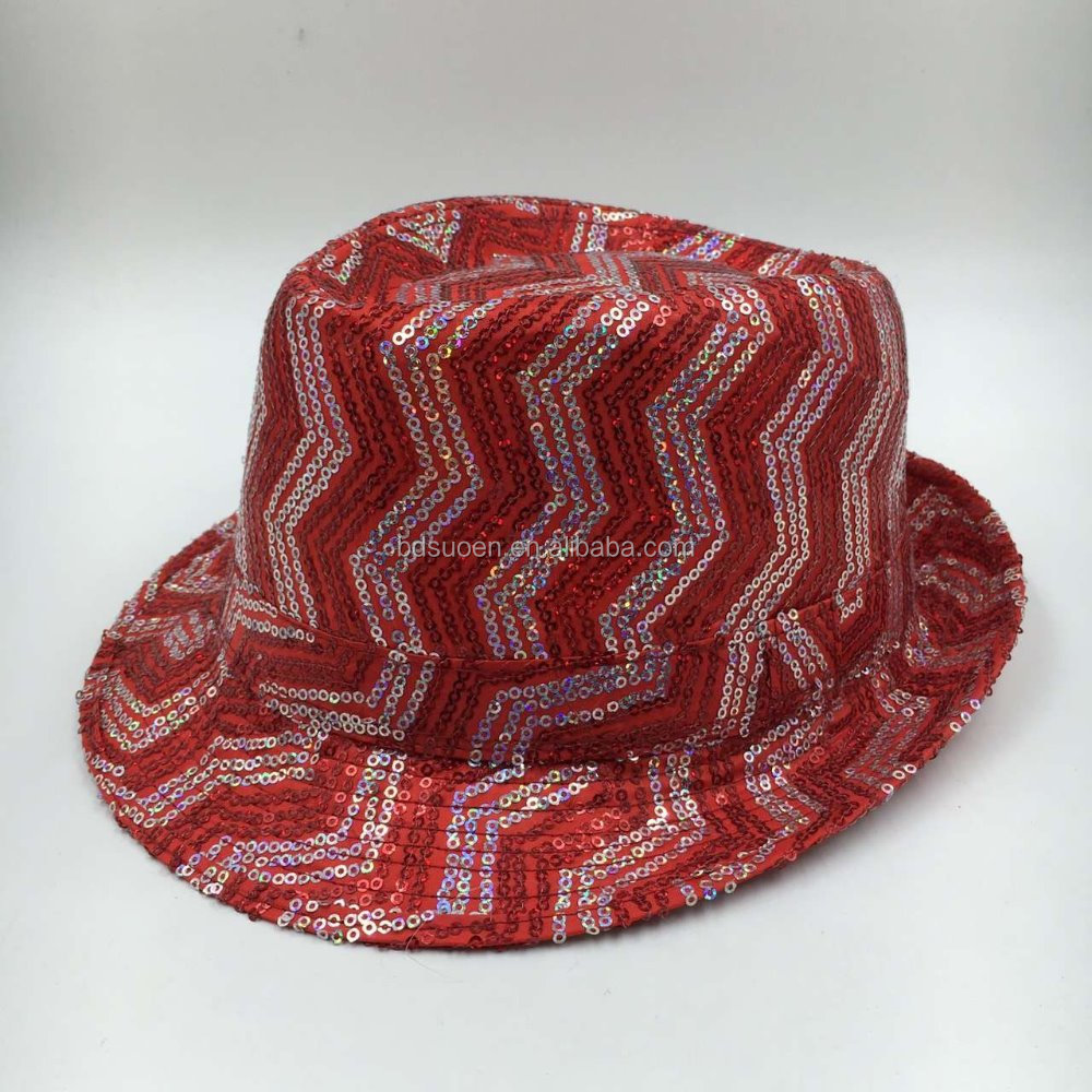 10c9a6d8fa5 Fashion Sequin Fedora Santa Party Hats Colour Red - Buy Fedora ...