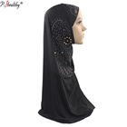 P-healthy top selling scarf women hijab 2019 fashion muslim hijab plain polyester stones hijab with lace