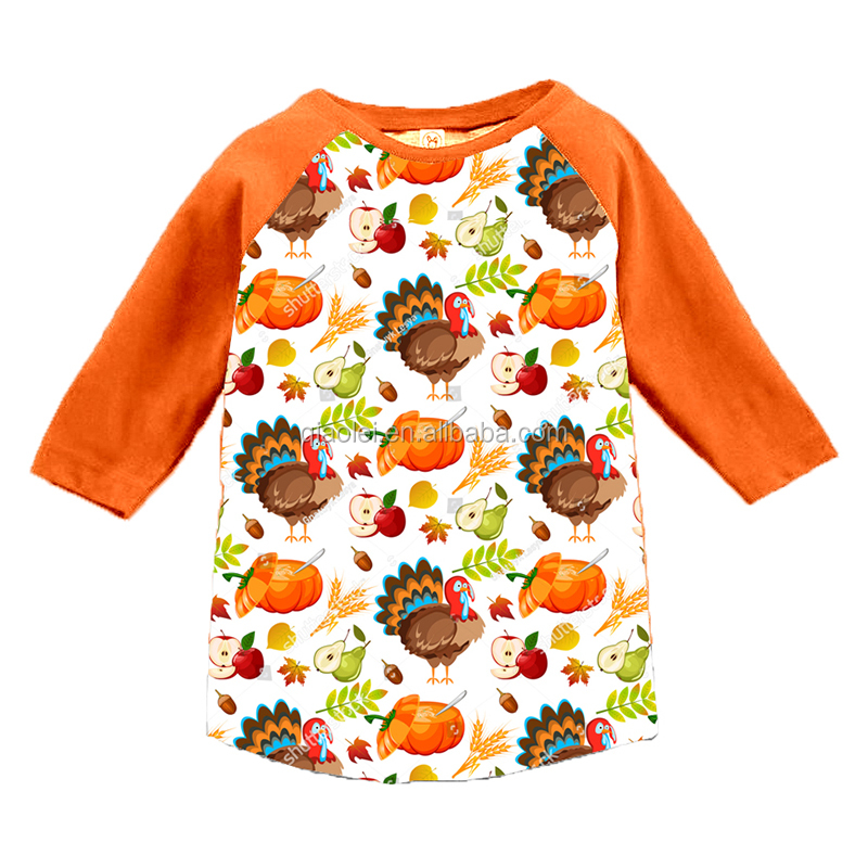 OEM/ODM Children Clothes New Hot Selling Style Fall Autumn long Sleeve Kids Children Cotton Thanksgiving T-shirt with Turkey