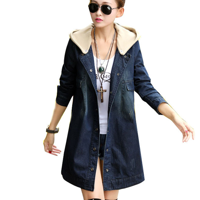 d974a0739a2 Get Quotations · 2015 new fashion women coat long sleeve plus size hoodied  denim long trench coats for women