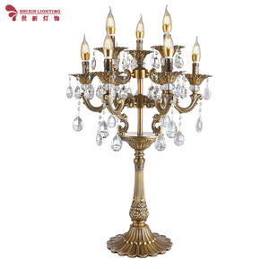 European luxury candle crystal table lamp antique gold living room bedroom study hotel table lamp wrought iron decorative table