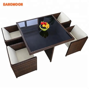 Dining tables rattan garden space saving patio furniture factory direct wholesale import from china