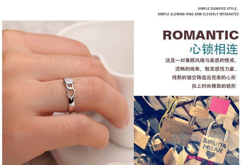 Platinum Plated couples rings fashion simple heart-shaped wedding rings Heart Lock Couple Rings