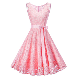 Sleeveless Large Skater Brilliant Pink Graduation Dresses Waist Band Cheap Online Party Dress