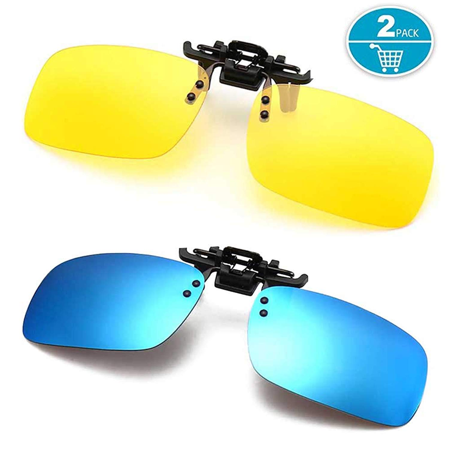 3cc304b0774a Get Quotations · Polarized Clip-on Sunglasses Anti-Glare Driving Glasses  for Prescription Glasses