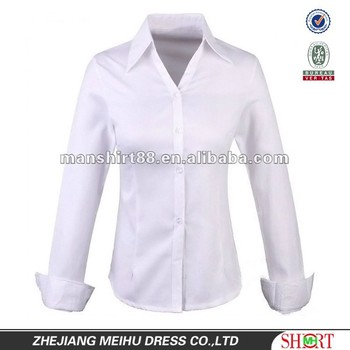 da74da6bd014 new Business slim fit 100% Organic Cotton White Shirt for Women Ladies with   quot