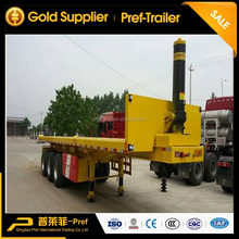Tri axles dump container trailer/ tipper flatbed truck trailer with high front fence