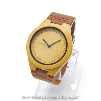 2015 most hot sale watches , cow genuine leather with red stitch ,vintage style carbonized bamboo watches ,