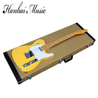 Wholesale factory custom retro yellow body TL electric guitar with rectangle hardcase,white pickguard,can be customized