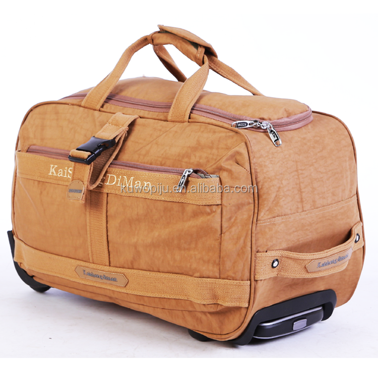Large beige Duffel Bag Rolling Wheeled Luggage Airline Wheels Dufflel Travel luggage