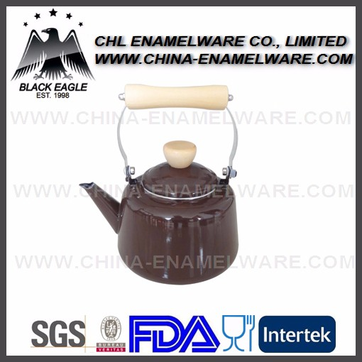 Brown color 2.7L (2700ml) enamel kettle with wooden handle