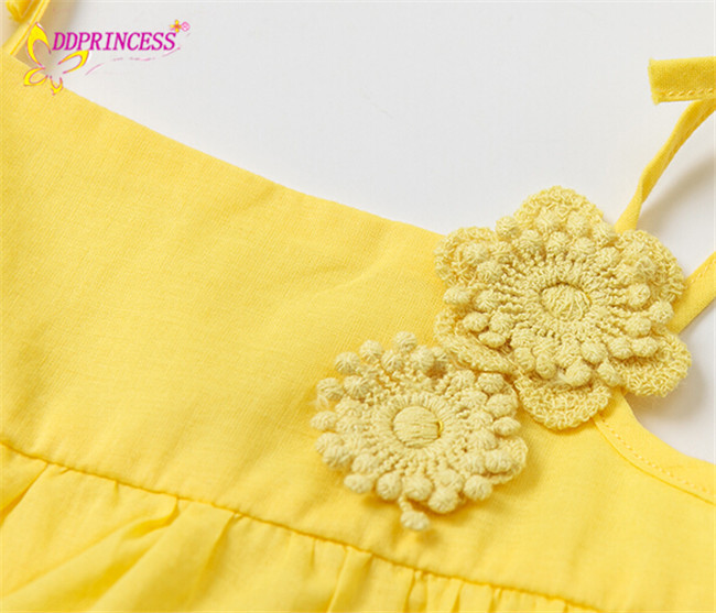42b4050be7762 cute baby girl clothing white and yellow summer 100% cotton dress designer  cotton dresses for