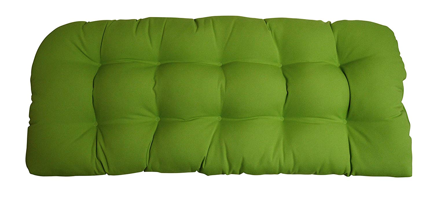 Sunbrella Canvas Macaw Love Seat Cushion - Indoor / Outdoor 1 Tufted Wicker Loveseat Settee Cushion - Lime Green
