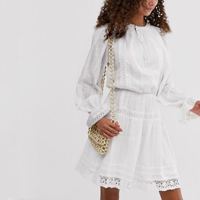 White cotton breathable <strong>Lace</strong> insert styled mini <strong>skater</strong> <strong>dress</strong>