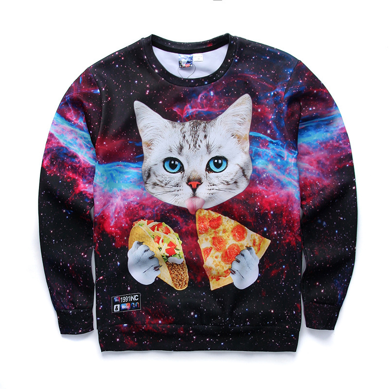 Harajuku pullover men/women cat with blue eyes eating tacos pizza in space sweatshirt 3d printed galaxy Animals hoodies moletom
