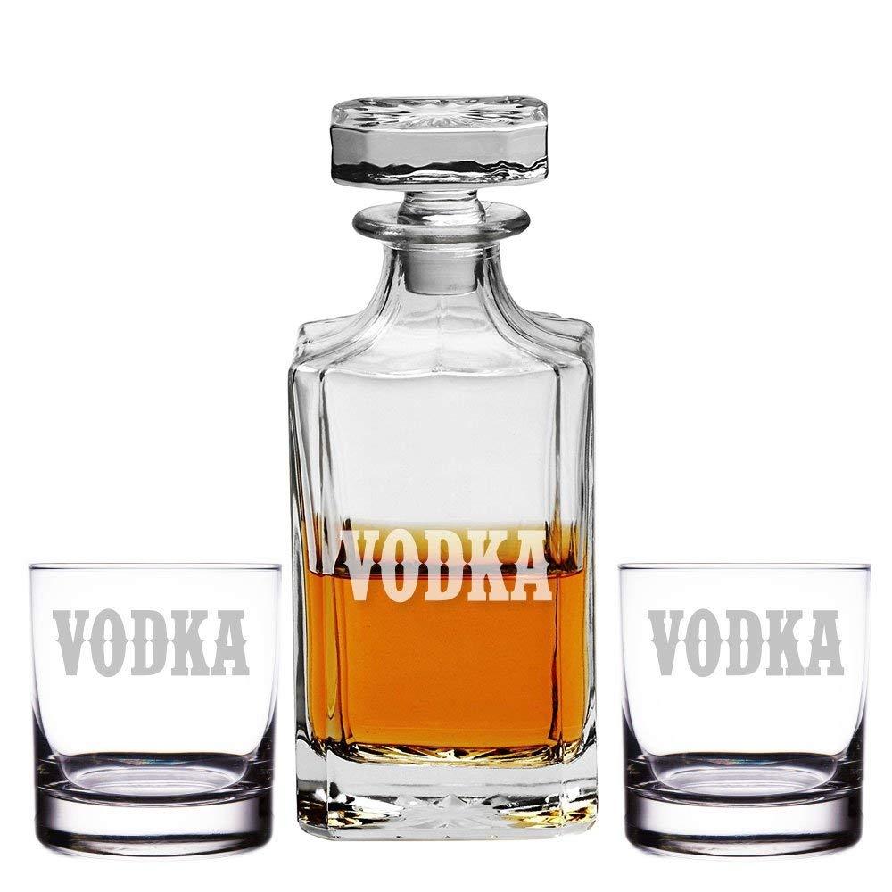 Vodka Engraved Decanter and Rocks Glasses, Set of 3