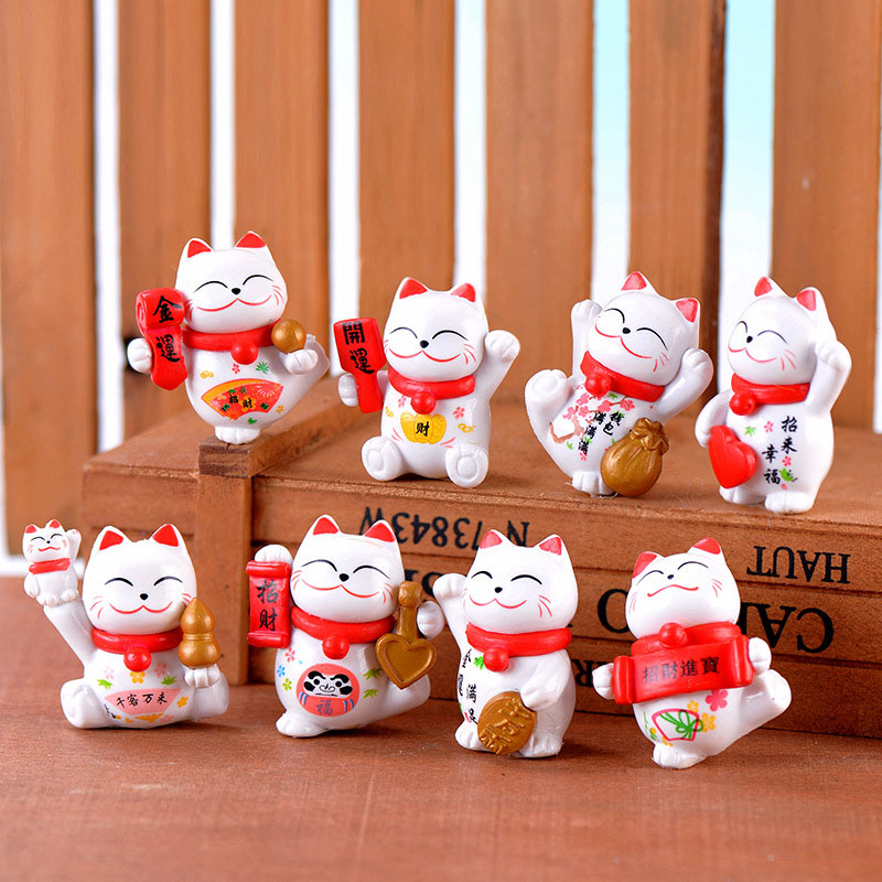 8 PCS Mini ขนาด Maneki Neko สำหรับ Fairy Garden Decor Fortune Lucky Cat สำหรับ Mini Garden Micro landscape Decors