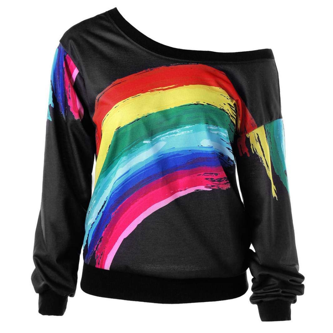 Snowfoller Sexy Women Blouse,Casual Long Sleeve Pullover Oblique Collar One Cold Shoulder Rainbow Striped Printed Tops Sweatshirt