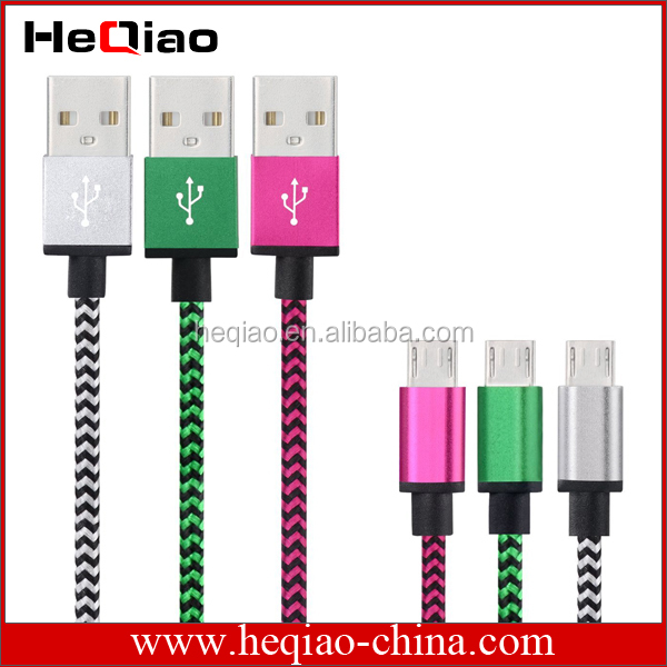Aluminium alloy braided nylon braided protected cable for micro usb Cable