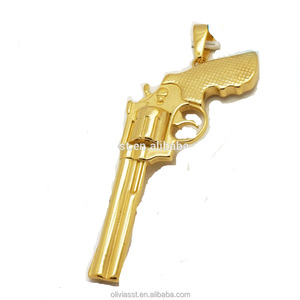 Olivia fashion punk style custom logo stainless steel hiphop gold mens gun pendent