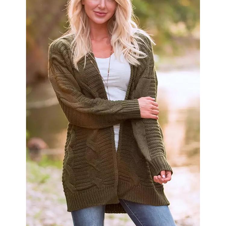 ファッションカジュアルアーミーグリーンルース長袖ニットセーター女性のための