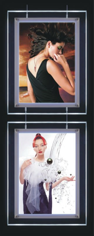 Double Side Ultra slim Hanging Advertising Crystal Led Light Box For display