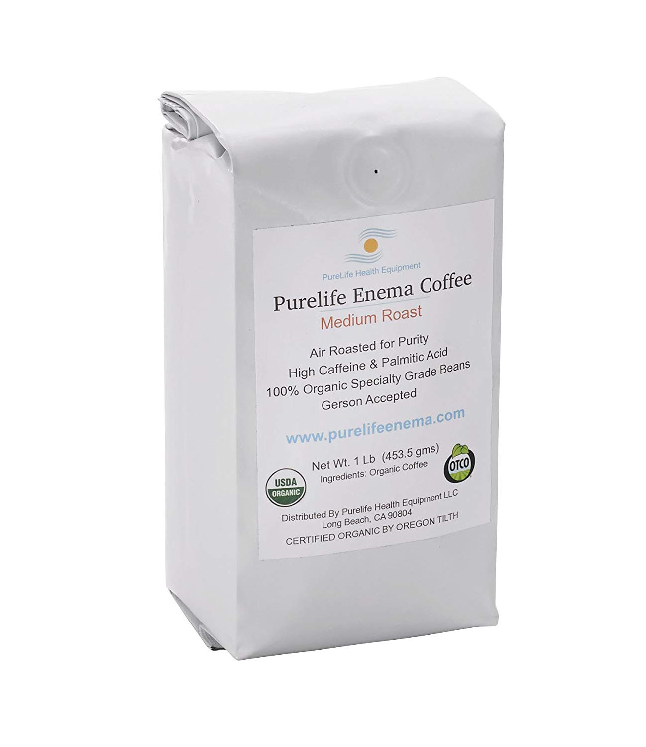 Purelife Mold-Free Coffee for Enemas- Whole Bean - Medium Air Roast -100% Organic/Gerson Recommended - Ships Direct and Fresh From Purelife Enema