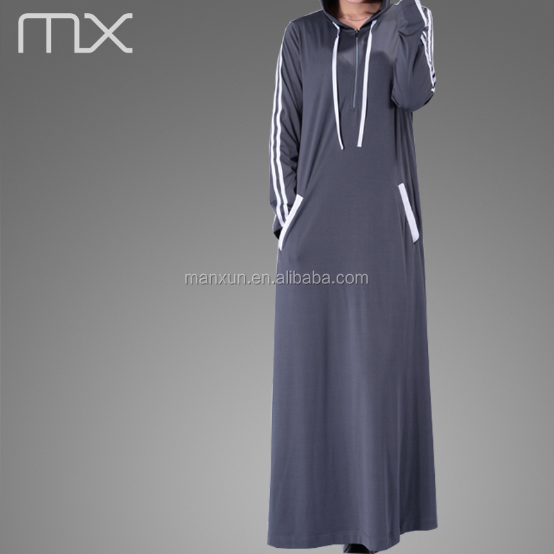 cae893457f0 2016 Mode maillot Décontracté Sport Musulman Abaya Manches Longues Robe  Musulmane Robe Sportive