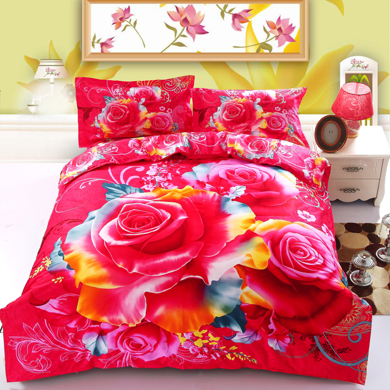 Coloré Fleur Style 100% Coton 3D Ensemble De Literie Linge De Lit Avec Des  Oreillers