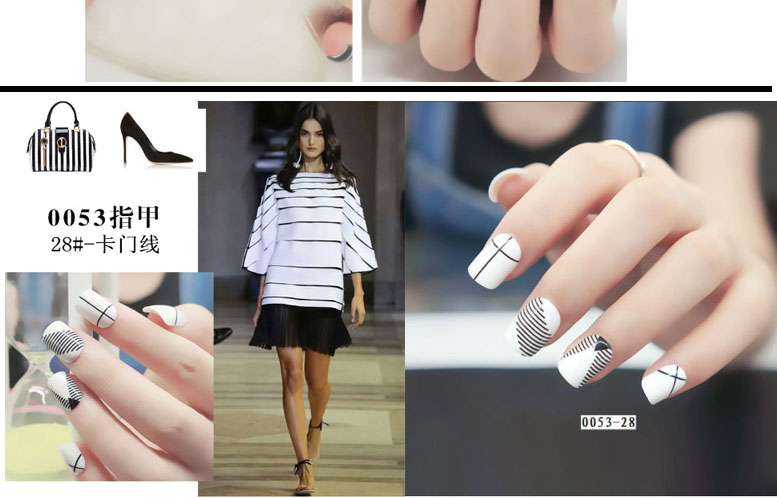 Fashion chequered with black and white Fake nail tips