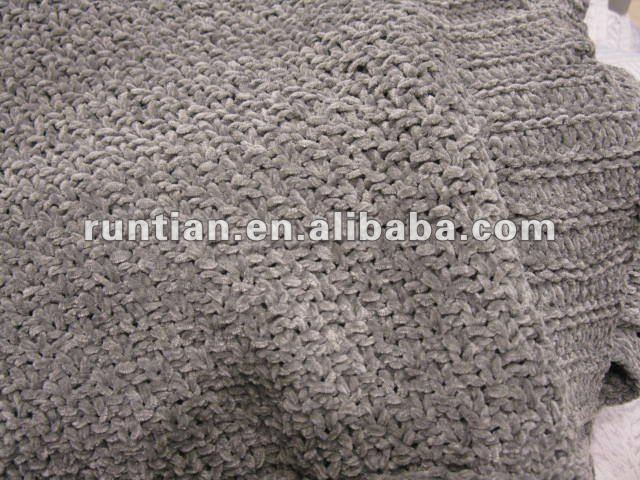 Chenille Yarn Knitting Moss Stitches Throw Blanket