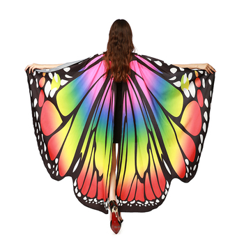 Amazon Hot Selling Fairy Printed Chiffon Cape Butterfly Wings Shawl