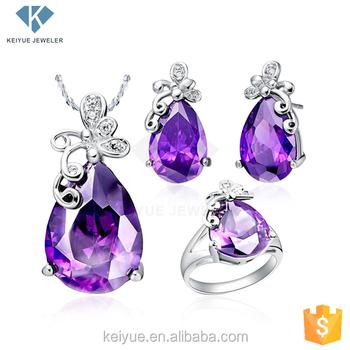 b32cb1859 Classic purple cz stone china wholesale dulhan 925 silver jewellery set