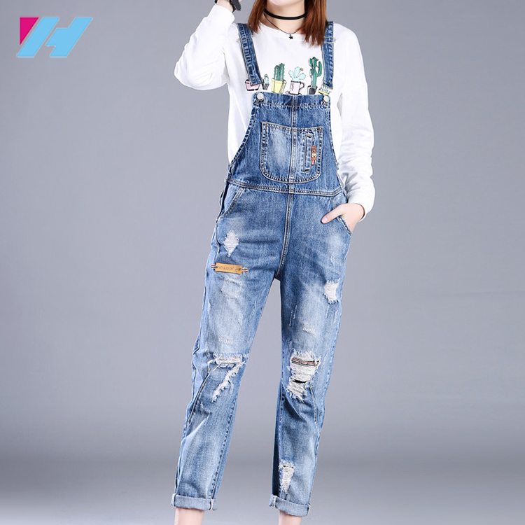 Fseason-Women Denim Skinny Playsuit Overall Ripped Long Pants Overalls