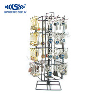 Custom made PDQ key chain metal display stand/steel display rack for key chain with hooks/iron key chain display showcase