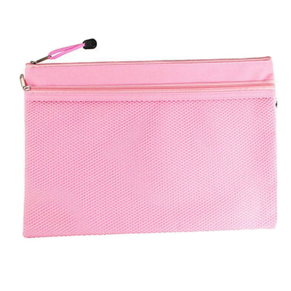 2PCS Canvas Double-deck Document File Stationery Zipper Bag Storage Pouch - Pink