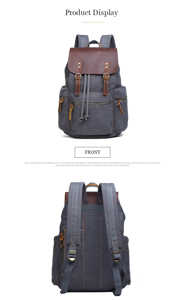 China manufacturer custom simple fashion leisure drawstring vintage canvas new model charger backpack for men