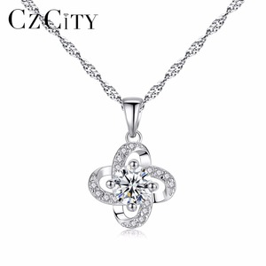 CZCITY New Fashion 2018 Flower Shape 925 Silver Pendant Necklace With Clear Zircon Stone For Women Wedding Party Or Gift