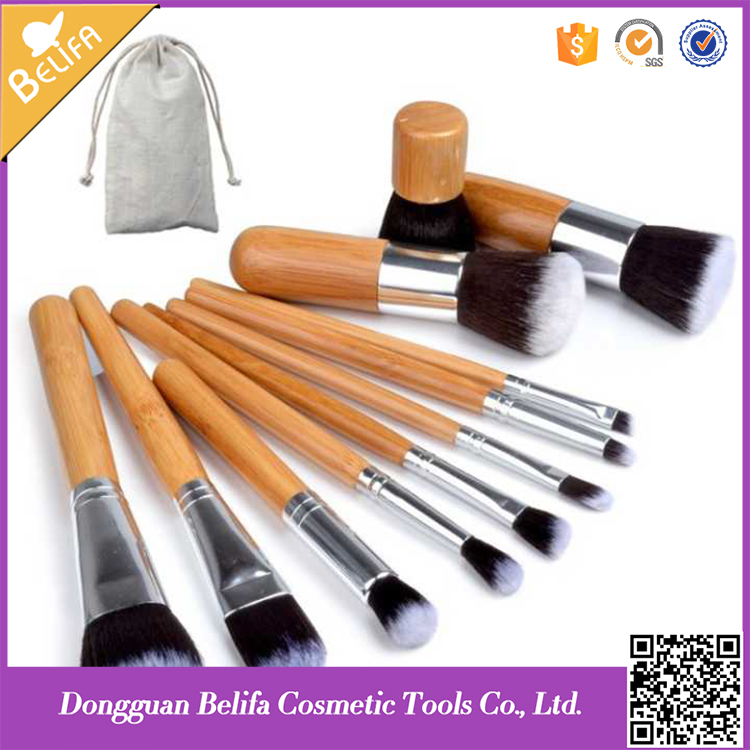 Wholesale Belifa 11pcs profeesional makeup brush set with PU leather high quliaty bag