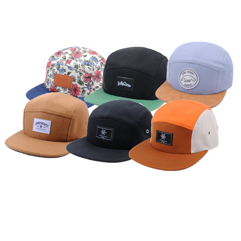74041044a7b9b Multi-color Custom Blank 5 Panel Hats ,Wholesale Design Your Own Woven  Label Camp 5 panel cap