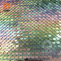 Two Side Rainbow Iridescent Fish Scale Reverse Sequins Fabric
