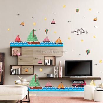 Kinderkamer Decoratie Muur.Cartoon Zeilboot Muur Grens Sticker Voor Kinderkamer Decoratie Buy
