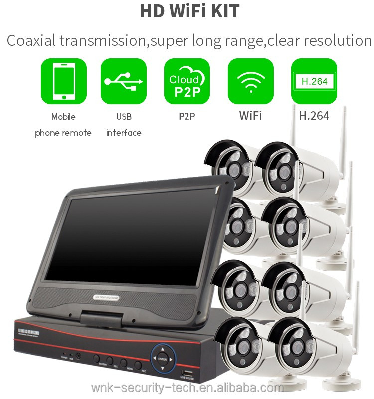 H.264 8ch Wifi NVR Kit HD Wireless Outdoor Camera Home Security System with 10 inch Display Screen