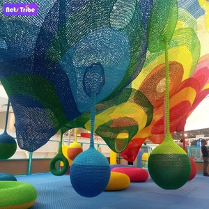 indoor colorful rainbow rope climbing net playground