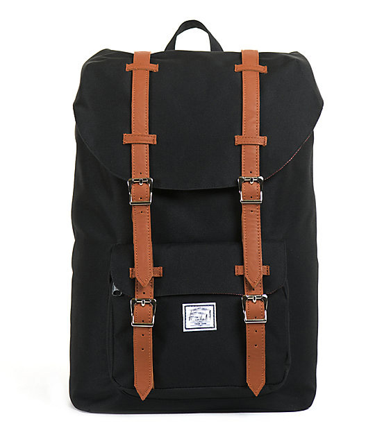 America Black 24l Backpack Leather Straps Korean Style Backpack ...